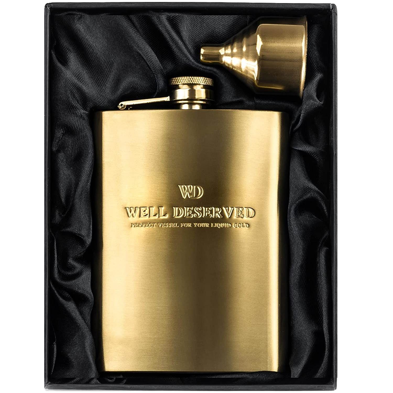 8oz Gold Hip Flask Gift Set: Engraved WELL DESERVED. Pocket Flask for Liquor + Funnel in a Classy Black Satin Packaging. Unique Gift For Groomsman/Wedding, Keepsake & Appreciation, For Men or Women