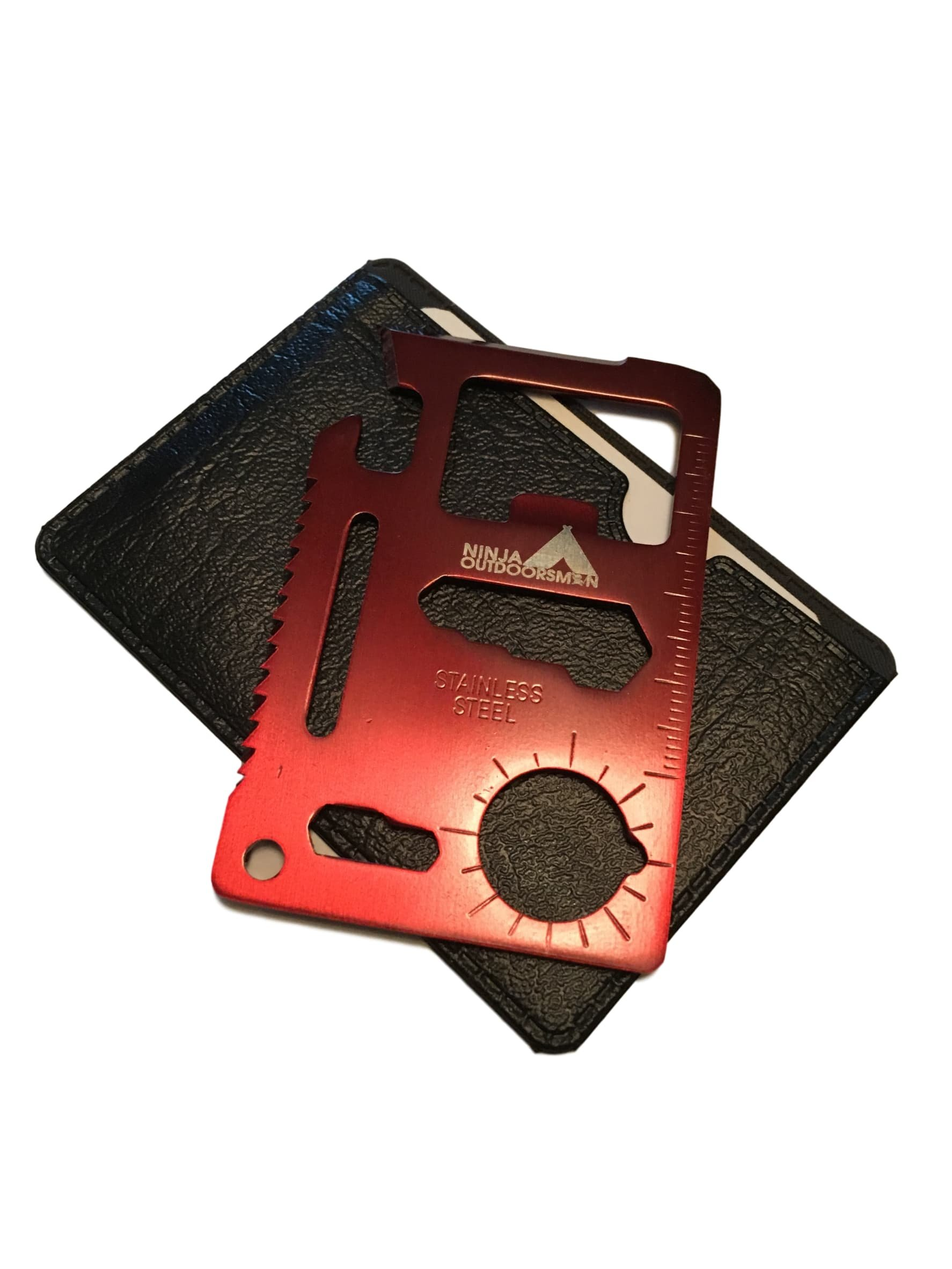 Ninja Outdoorsman 11 in 1 Stainless Steel Credit Card Pocket Sized Survival Multi tool (Single, Red)