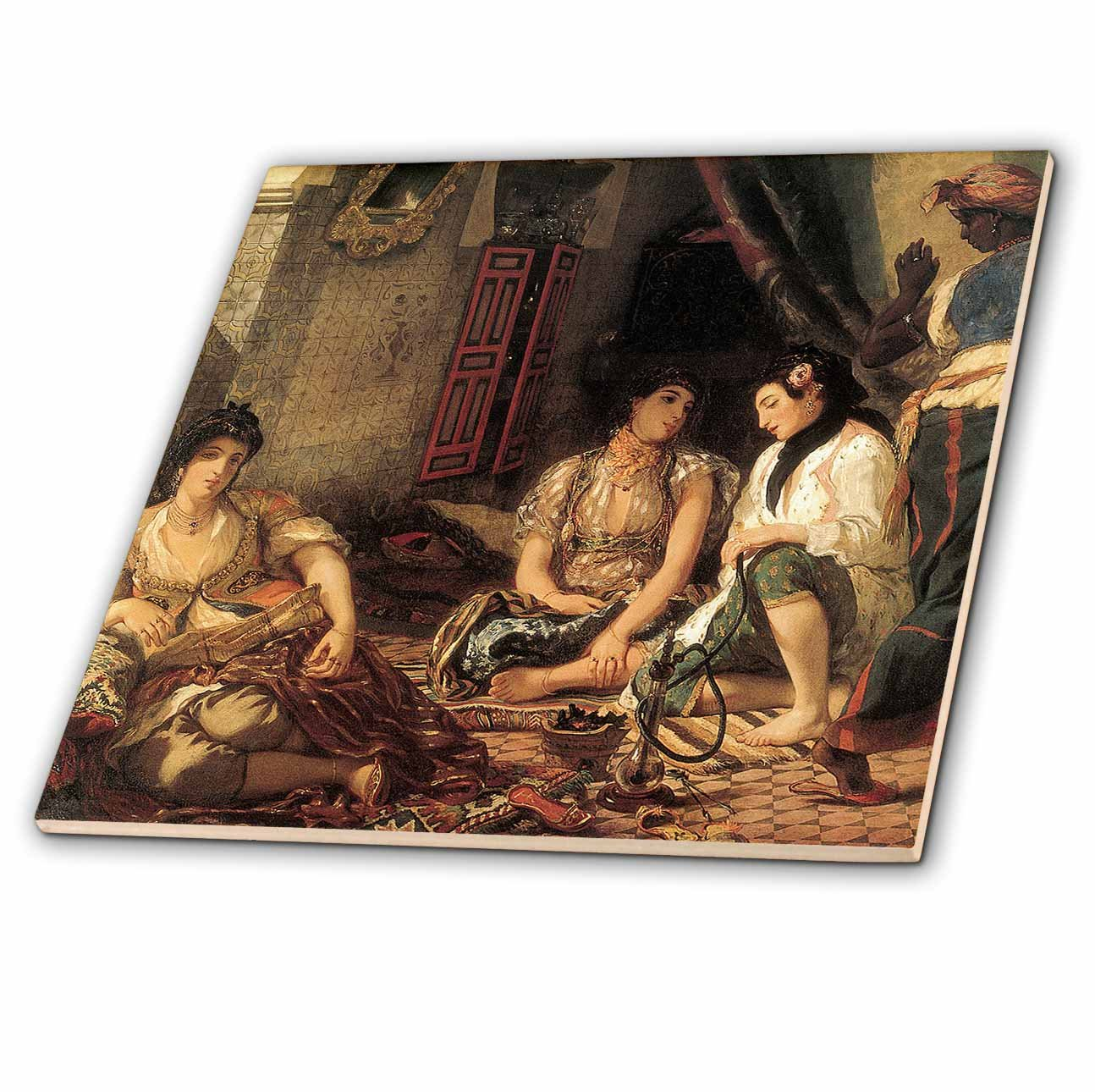 ct/_127418/_4 3dRose 3D Rose Algerian Women in Their Apartment by Eugene Delacroix-Ceramic Tile 12-inch