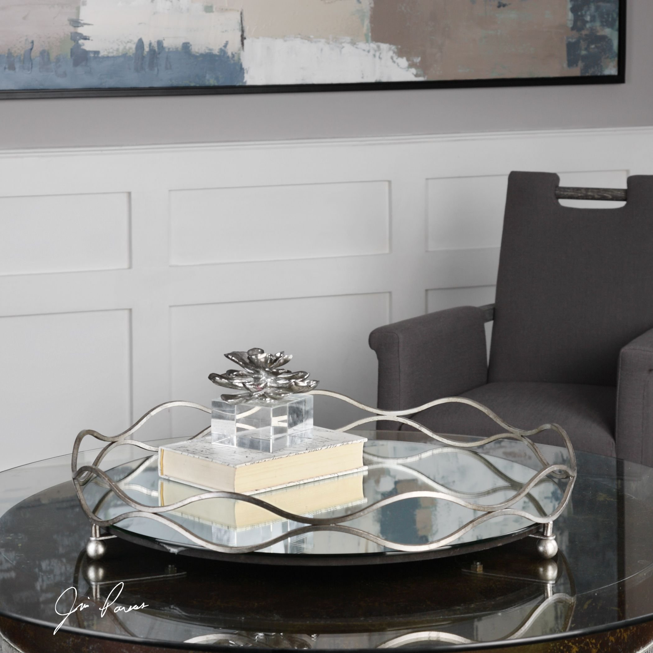 Elegant Round Mirrored Silver Centerpiece Tray   Bar Vanity Waves Open Metal by My Swanky Home (Image #2)
