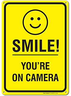 Amazon.com: Smile You're On Camera Sign Security Waterproof ...