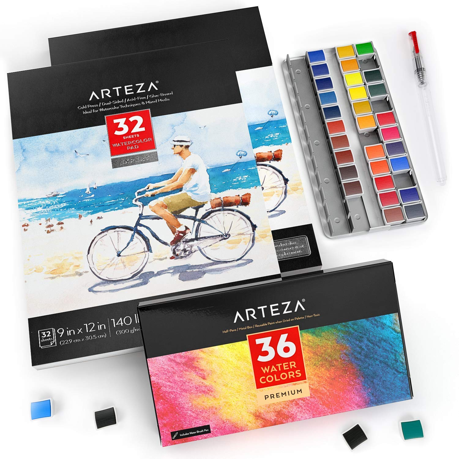 Arteza Watercolor Art Kit, 36 Watercolor Half Pans & 2 Expert Watercolor Pads, 9x12-inch, 32-Sheets Each for Professional Artists, Students, Beginners by ARTEZA