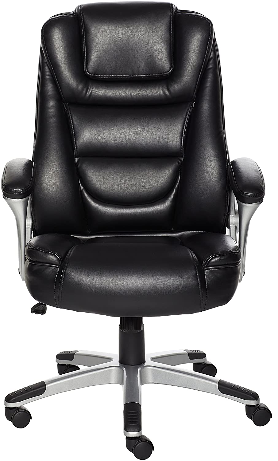 AmazonBasics High-Back Office Desk Chair – Comfortable Leather, Easy Tool-Free Assembly – Black