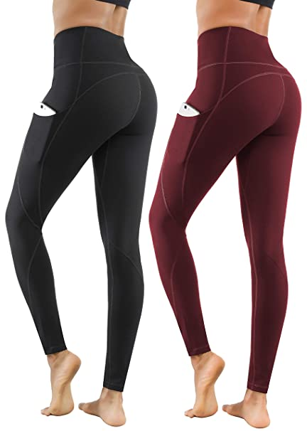 Lingswallow Yoga Pants for Women with Pockets, High Waist Yoga Leggings for Workout Running Yoga Pants (2 Pack)
