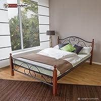 Homestyle4u 549, Metallbett 140 x 200 Mit Lattenrost, Bettgestell Metall, Pfosten Holz Braun