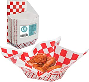 [125 Sheets and 125 Trays] Red and White Checkered 12x12 Inch Deli Sheet Sandwich Wrap Paper Basket Liner and 3 lb Paper Food Tray - Grease Resistant for Burger Fries Nachos Hotdog Chicken Chips