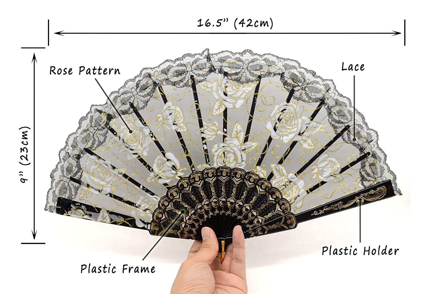 Amazon.com: OMyTea Rose Lace Folding Hand Held Fans Bulk for Women ...