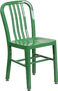 Flash Furniture Commercial Grade Green Metal Indoor-Outdoor Chair