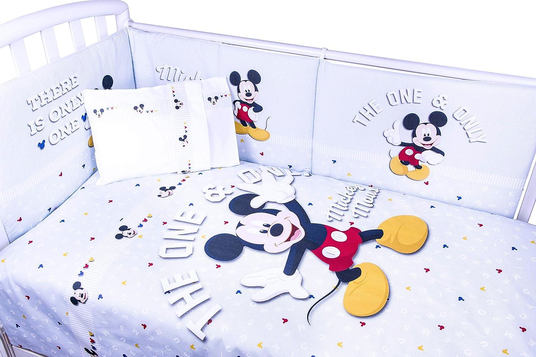 Disney Edred/ón de 5 piezas de Mickey Mouse con protector de cuna y s/ábanas a juego azul celeste