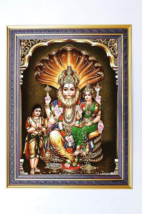 Buy Rudra Photo Frame Wood Lakshmi Narasimha Swamy 10 X 13 Online At