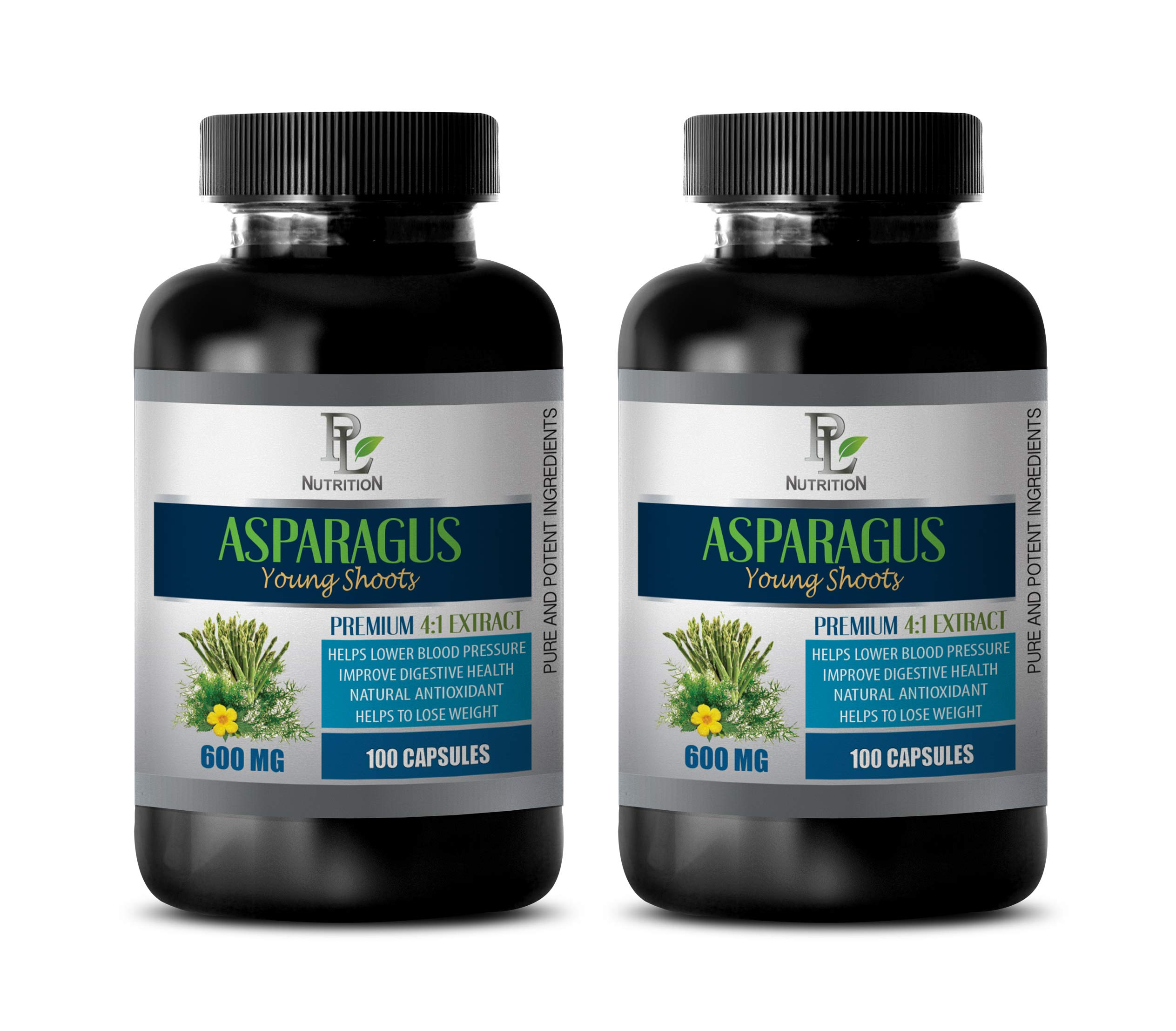 Heart Health Supplements for Women - Asparagus Young Shoots Extract 600MG - Premium 4:1 Extract - antioxidant Weight Loss - 2 Bottles 200 Capsules