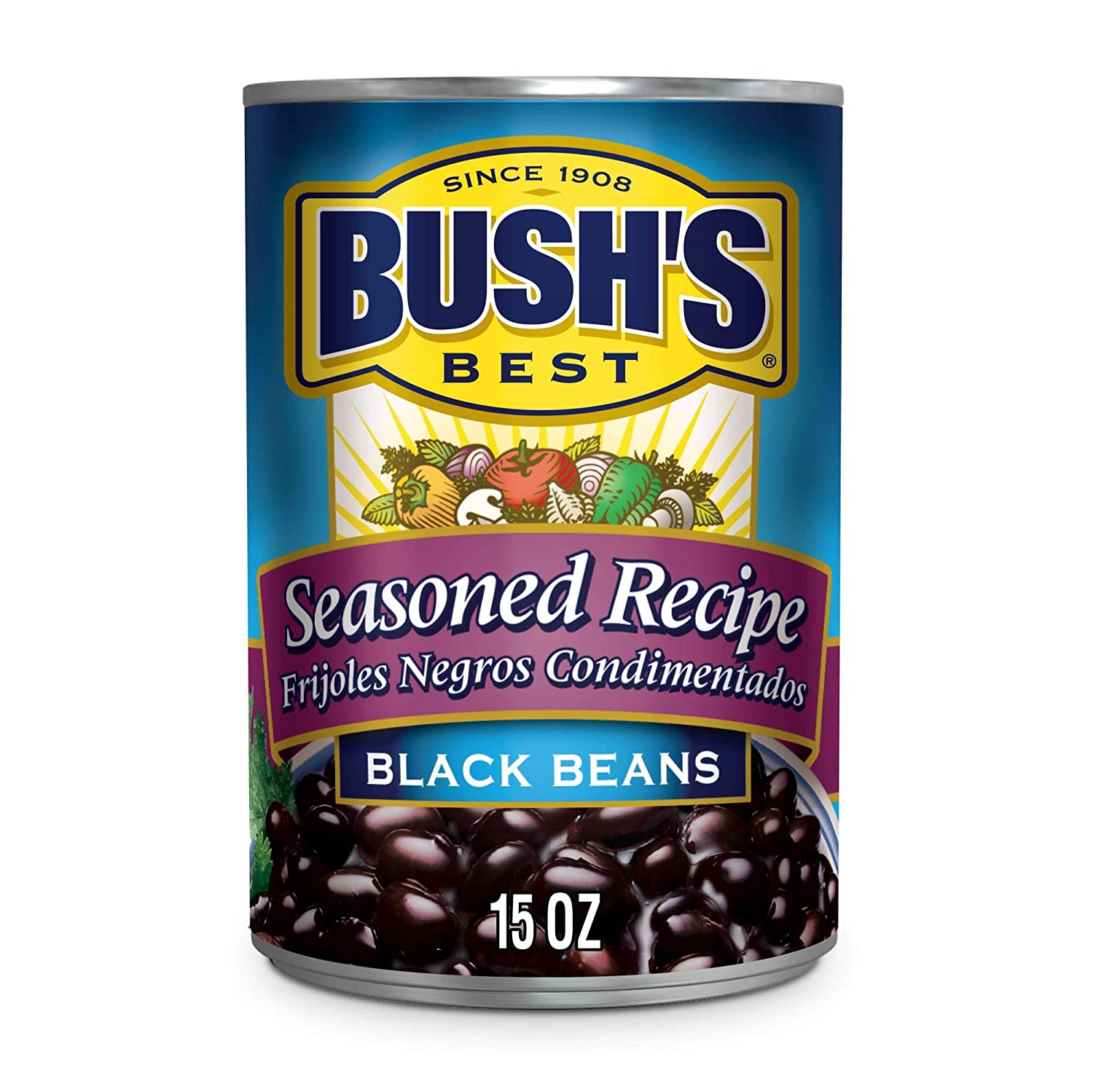BUSH'S BEST Canned Seasoned Recipe Black Beans (Pack of 12), Source of Plant Based Protein and Fiber, Low Fat, Gluten Free, 15 oz