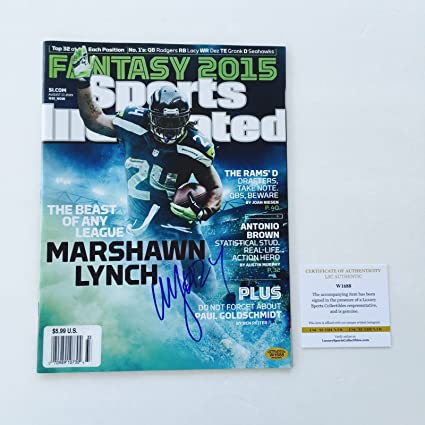 2d2a180cb Seahawks Marshawn Lynch Signed Sports Illustrated Magazine LSC Witness COA
