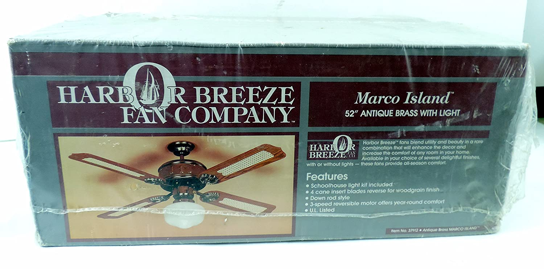 "Harbor Breeze "" Marco Island "" 52 ""アンティーク真鍮天井ファンW /ライト B01B1YITN8"