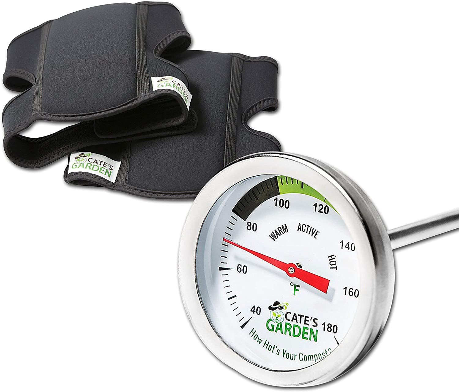 Compost Thermometer Premium Stainless Steel Bimetal Thermometer for Backyard Composting & Cate's Garden Ultra Comfort Knee Pads for The Home Gardener – Neoprene, Soft, Water-Resistant Construction