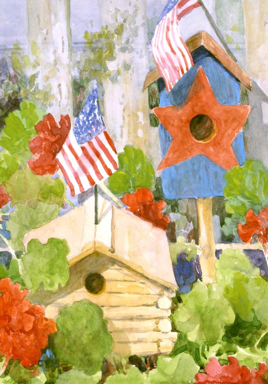 Toland Home Garden Star Spangled Birdhouse 12.5 x 18 Inch Decorative Patriotic Summer USA July 4 Bird Garden Flag