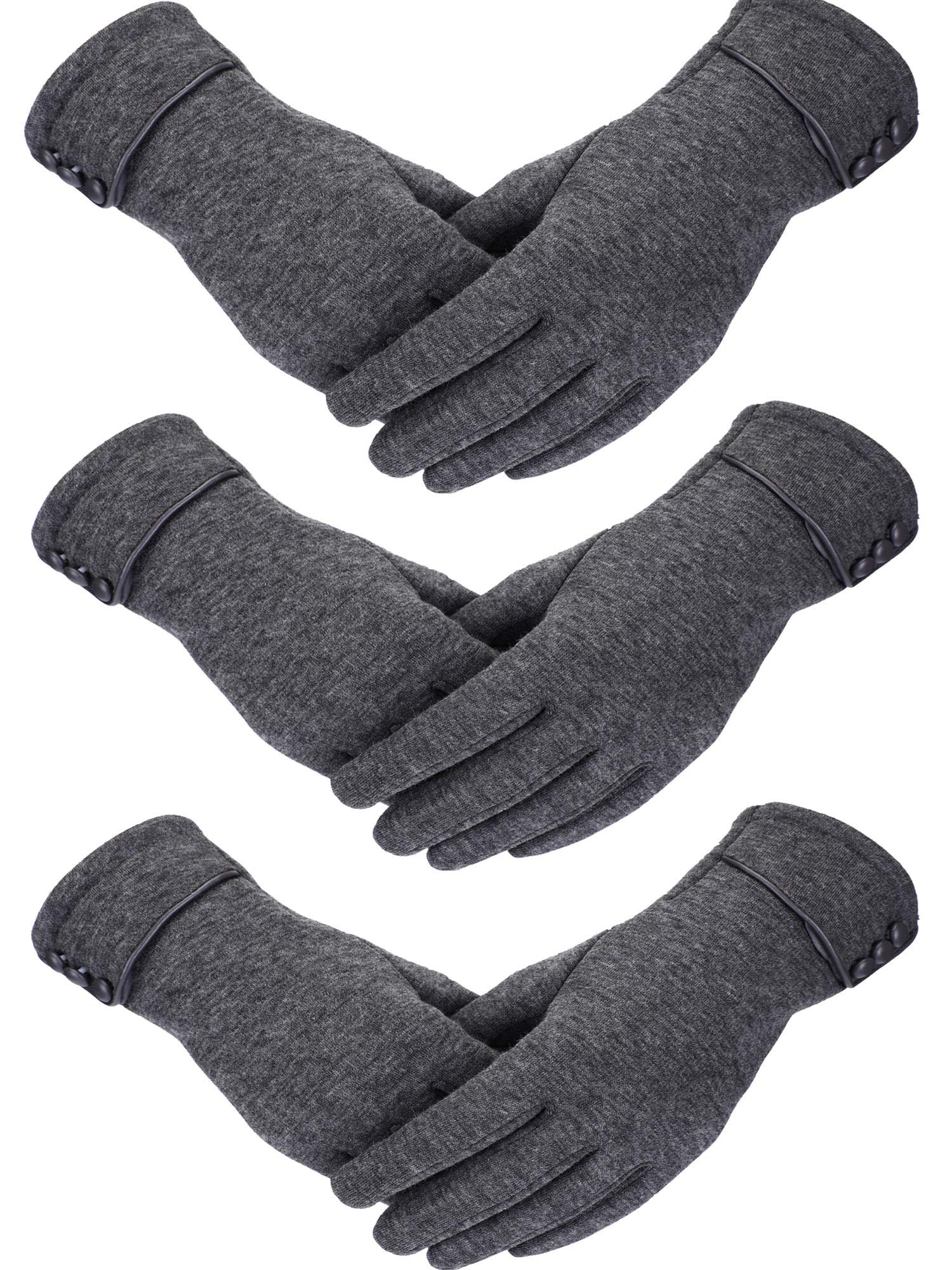 Patelai 3 Pairs Women Winter Gloves Warm Touchscreen Gloves Windproof Plush Gloves for Women Girls Winter Using (Gray)