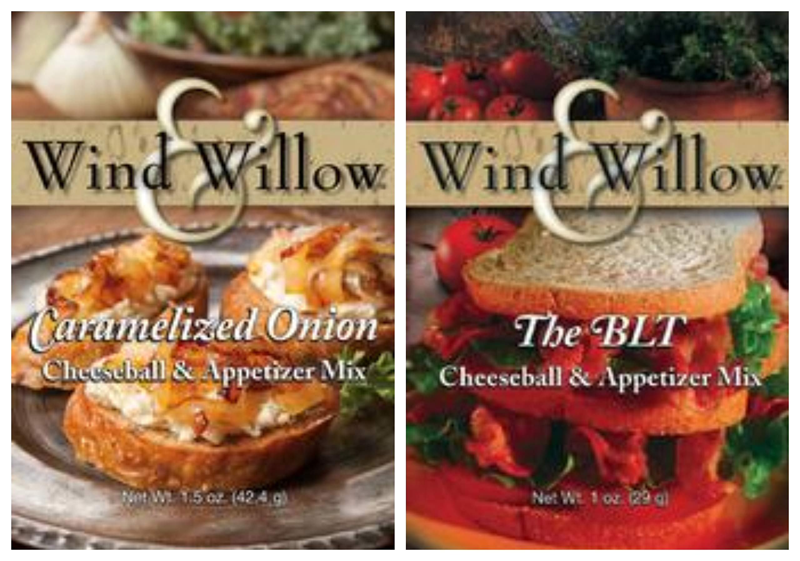 Wind & Willow Savory Cheeseball & Appetizer Mix Bundle (2 Pack): (1) Carmelized Onion and (1) BLT by Wind & Willow