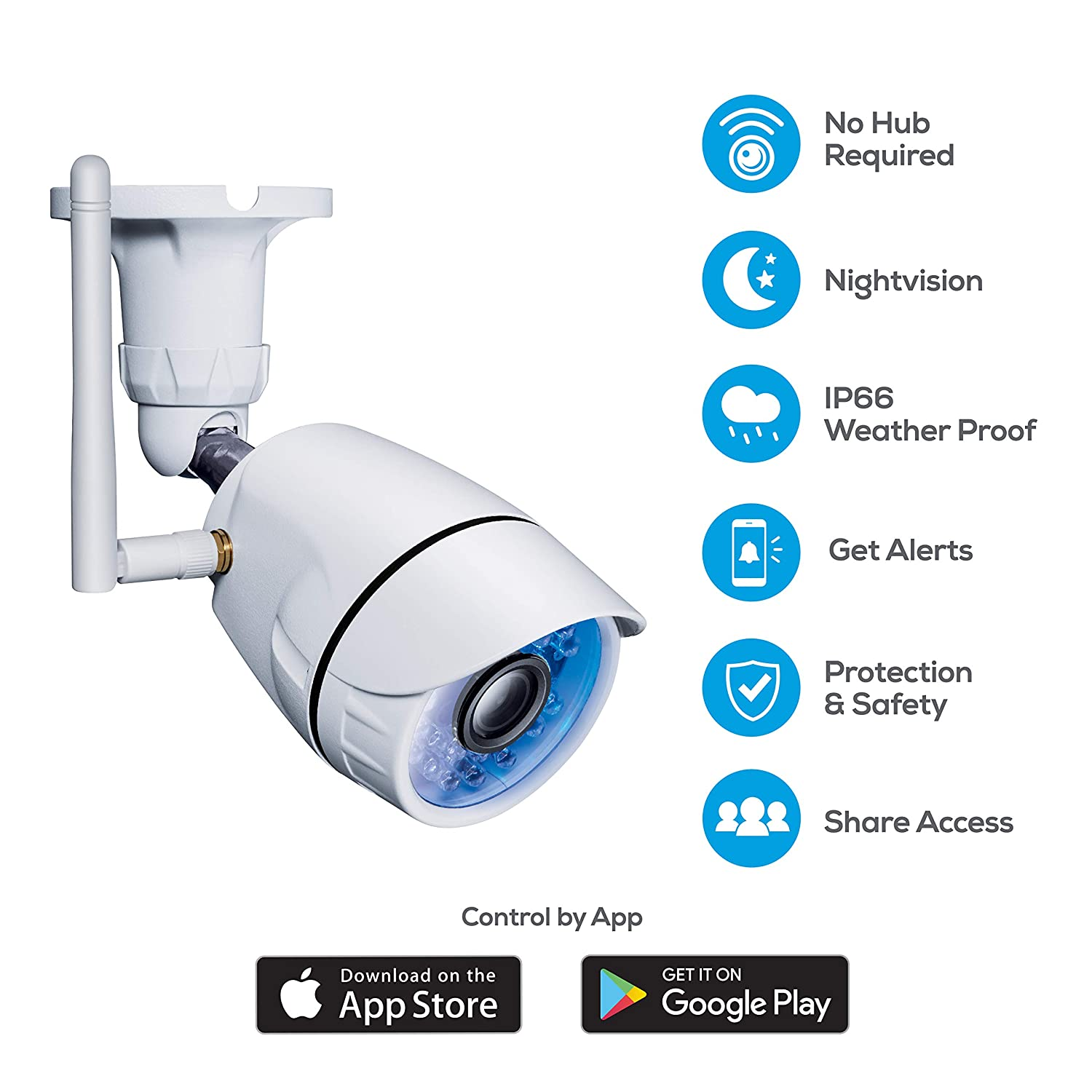 Amazon.com : Geeni Hawk Outdoor Smart Wi-Fi Security Camera with Night Vision, Motion Alerts and IP66 Weatherproof, White : Camera & Photo