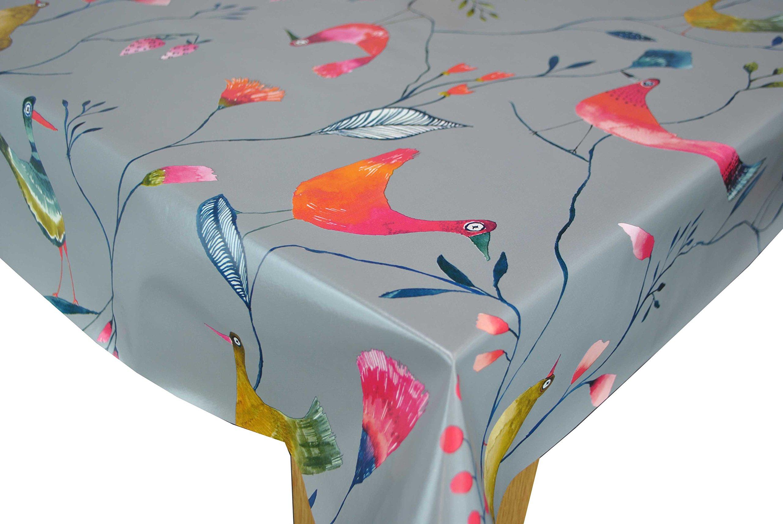 Karina Home Barmy Birds GREY Wipe Clean Tablecloth Vinyl PVC By (200cm X  140cm,