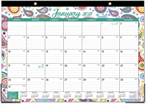 """Desk Calendar 2021-12 Months Desk Calendar, 17"""" x 12"""", Monthly Desk or Wall Calendar, January 2021 - December 2021, Large Ruled Blocks Perfect for Planning and Organizing for Home or Office"""