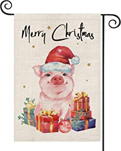 AVOIN Merry Christmas Watercolor Pig Garden Flag Vertical Double Sized, Winter Holiday Hat Present Lights Yard Outdoor Decoration 12.5 x 18 Inch