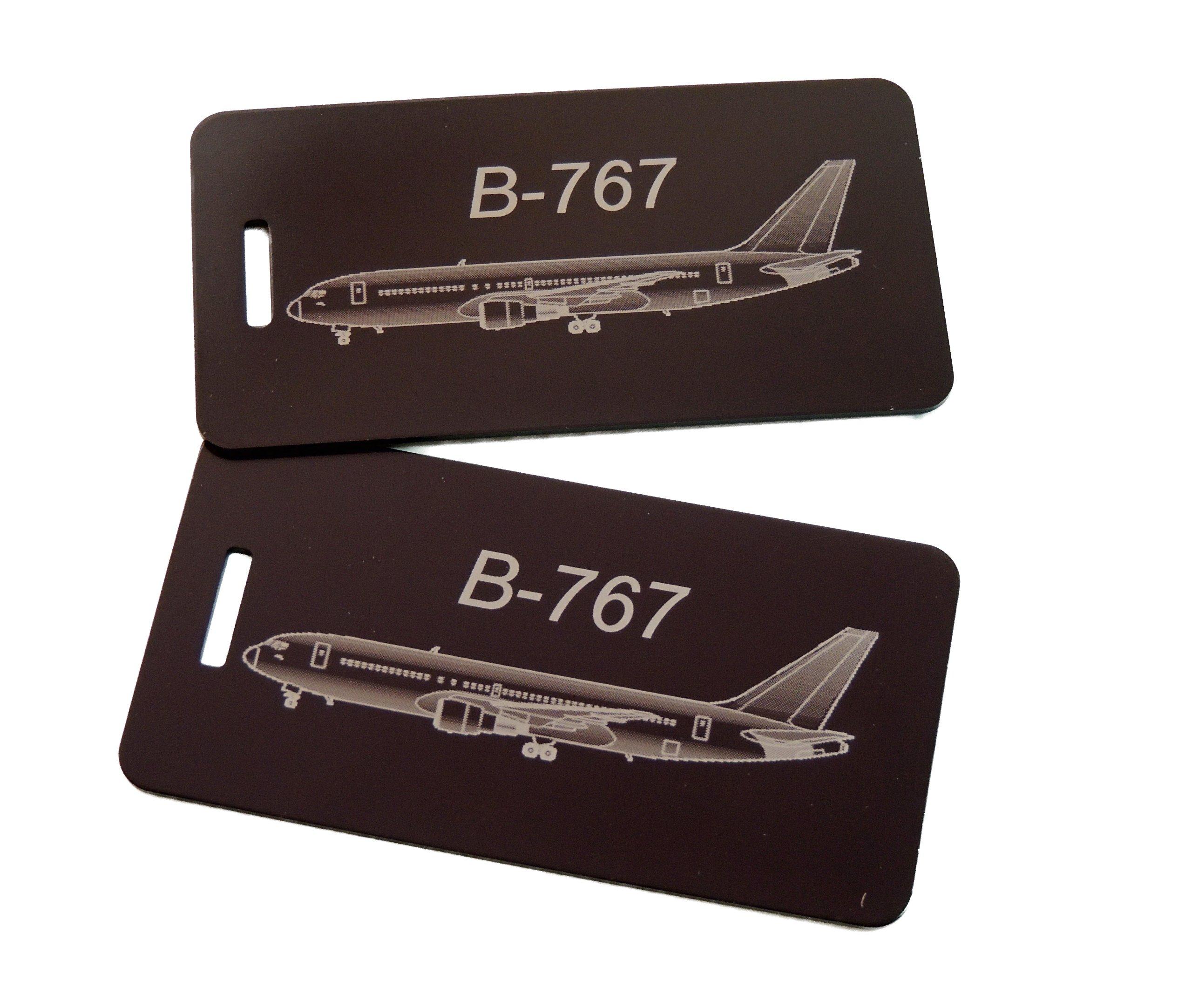 Boeing 767 Bag Tag, Set of Two (Black) by Airspeed Junkie (Image #1)