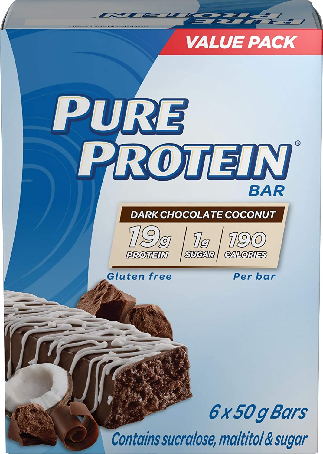 Pure Protein Bars, Gluten Free, Dark Chocolate Coconut, 50g/1.8oz., 6ct, {Imported from Canada}