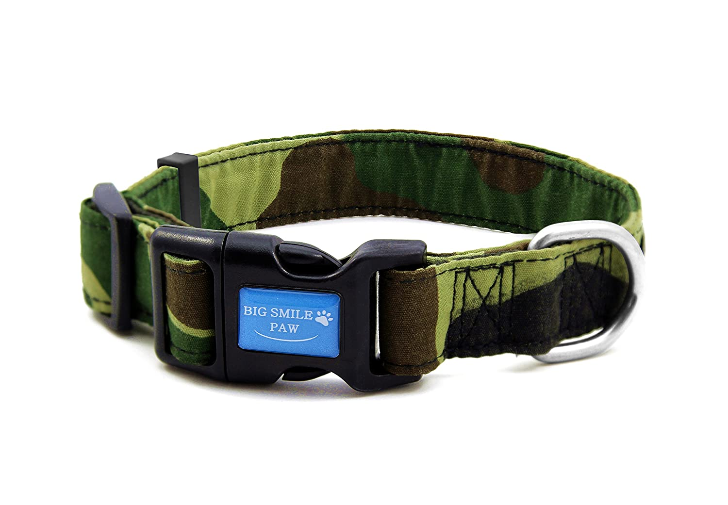 L BIG SMILE PAW Camo Dog Collar for Medium and Large Dogs (L)