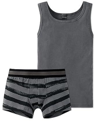 d3114c3111 Schiesser Jungen Teens - Unterwäsche Set Unterhemd + Shorts aus der Serie  Metropolitan (152)