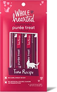 WholeHearted Tuna Recipe Puree Squeezable Cat Treats, 0.5 oz., Count of 4