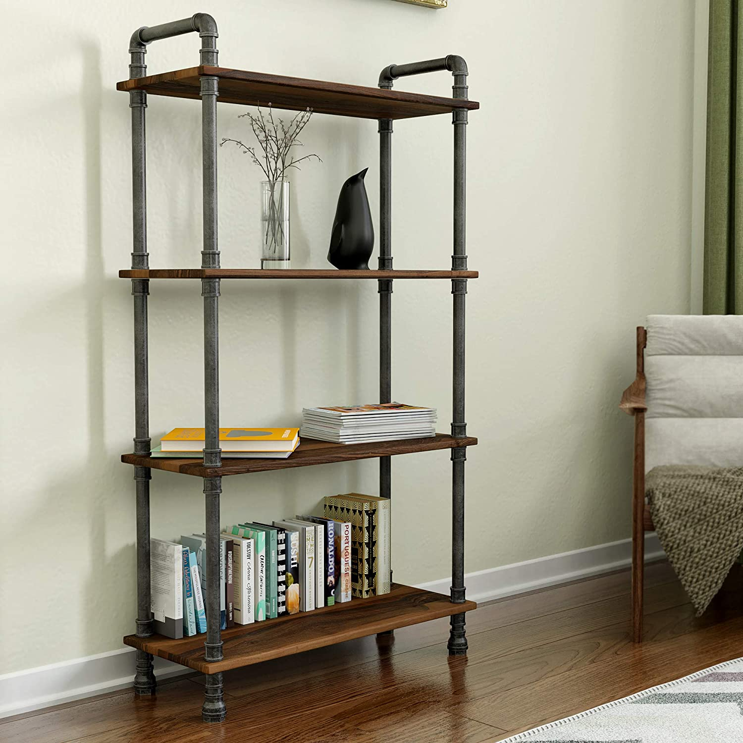 "Barnyard Designs Furniture 4-Tier Etagere Bookcase, Solid Pine Open Wood Shelves, Rustic Modern Industrial Metal and Wood Style Bookshelf, Brown, 55"" x 29.5"" x 11.75"""