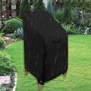 WOMACO Stackable Patio Chair Cover Waterproof Outdoor Stacking High Back Chair Cover Water Resistant Outside Furniture Tall Chair Protector (1 Pack - 29.5