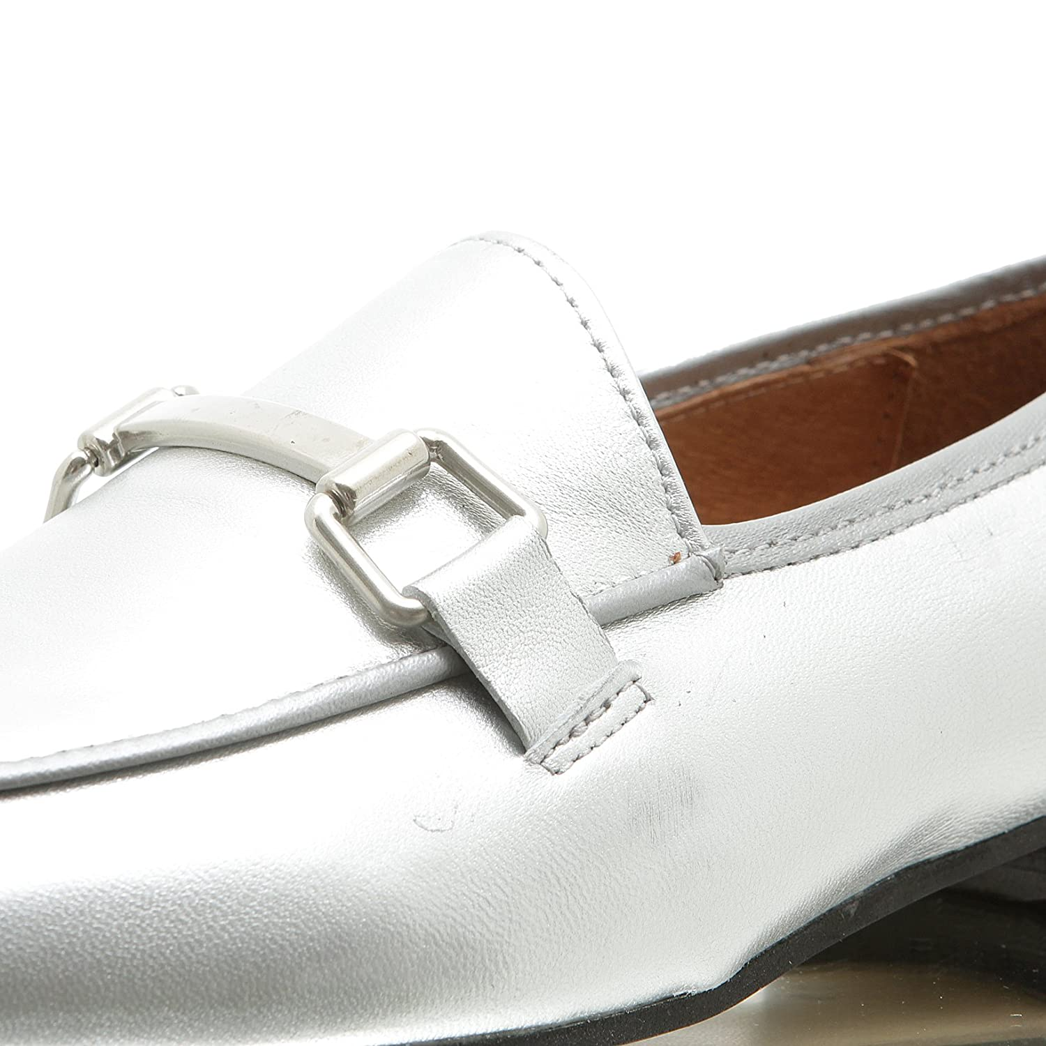 Apple Loafer of Eden Jacky metall Damen Slipper Ballerina Loafer Apple Silver 068790