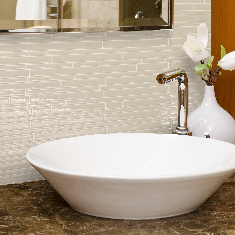 Smart Tiles Peel and Stick Backsplash and Wall Tile Milano Crema (Pack of 4)