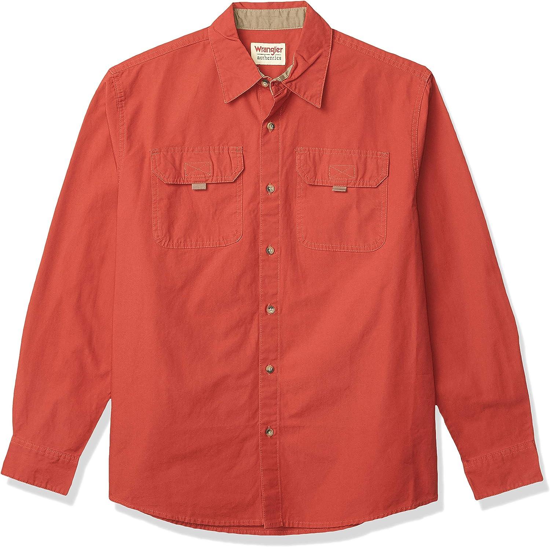 Wrangler Authentics Camisa de lona de manga larga para hombre: Amazon.es: Ropa y accesorios