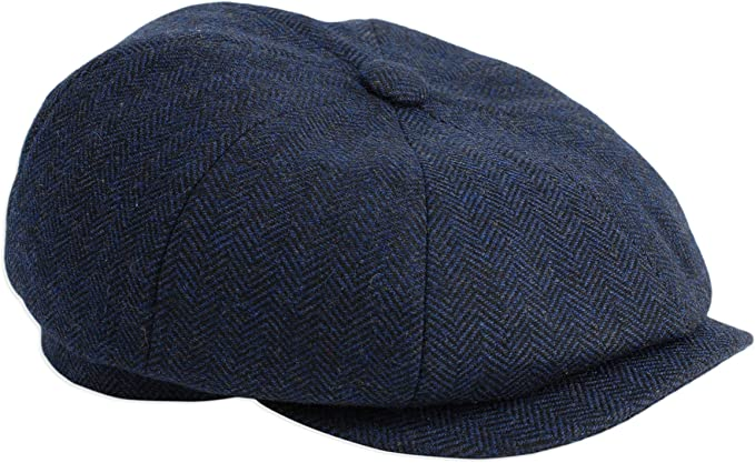 1920s Men's Fashion UK | Peaky Blinders Clothing Gamble & Gunn Shelby Newsboy Button Top Cap Blue Herringbone £22.49 AT vintagedancer.com