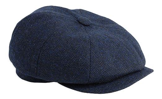 73b2347598c9c Gamble   Gunn  Shelby  Newsboy Button Top Cap Blue Herringbone   Amazon.co.uk  Clothing