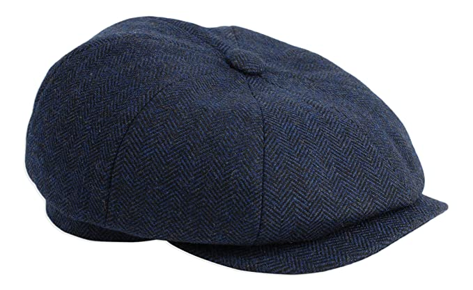 Gamble   Gunn  Shelby  Newsboy Button Top Cap Blue Herringbone ... 4b069ce4abe4