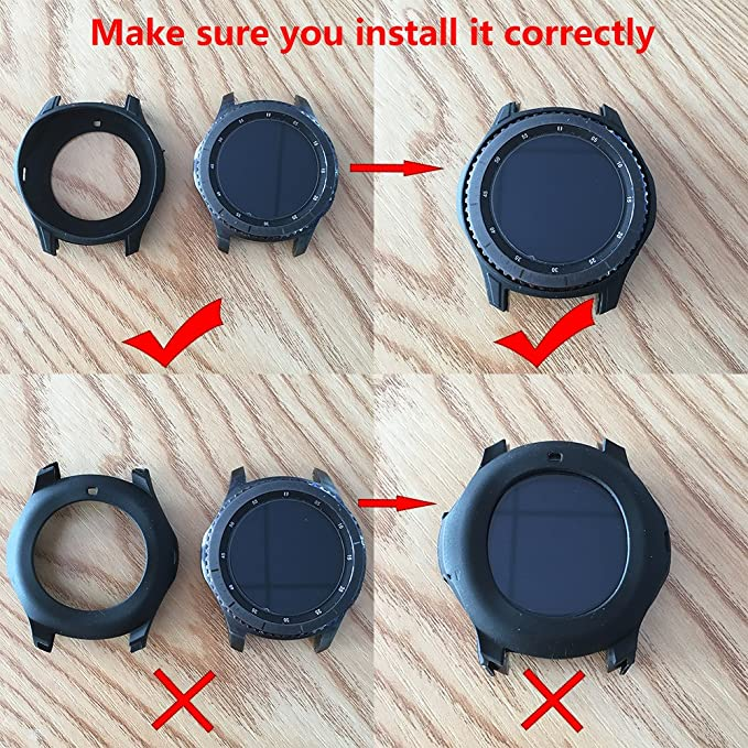LDFAS Gear S3 Case, Silicone Shock-Proof and Protector Cover Compatible Samsung Galaxy Watch (46MM) / Gear S3 Frontier Smartwatch(Not Fit Gear S3 ...