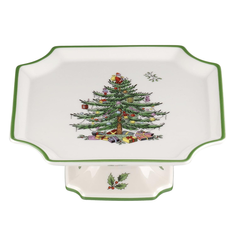 (17cm ) - Spode Christmas Tree Footed Square Cake Plate, 17cm Portmeirion USA 1556263