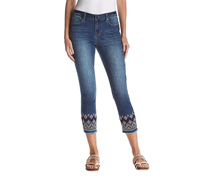 Amazon.com: Earl Jean bordado detalle Frayed puño Skinny ...