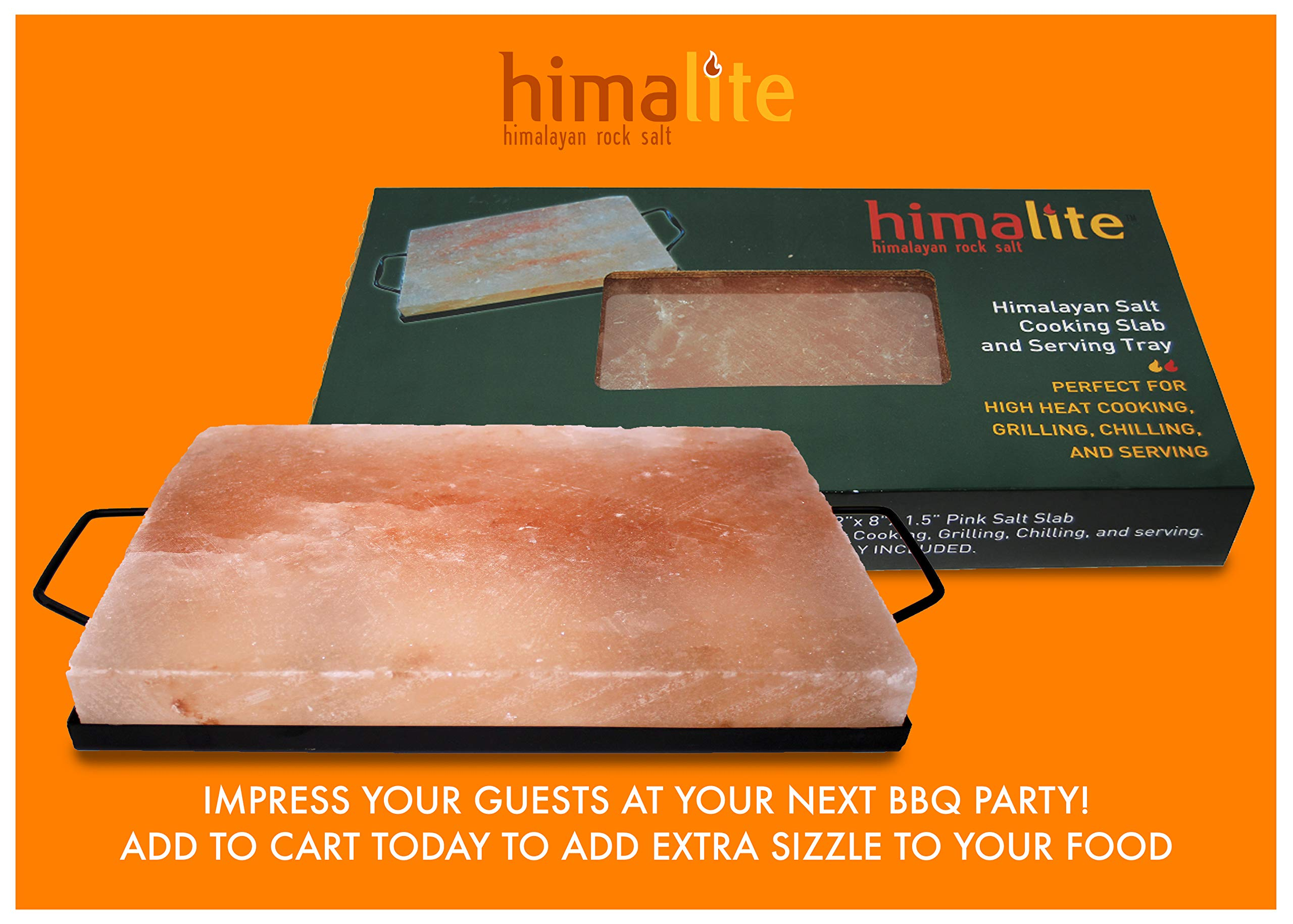 Himalite Himalayan Pink Salt Cooking Block and Tray Set 12'' x 8'' x 1.5'' for Cooking, Grilling, Cutting and Serving with Metal Tray Himalayan Rock Salt by Himalite (Image #2)