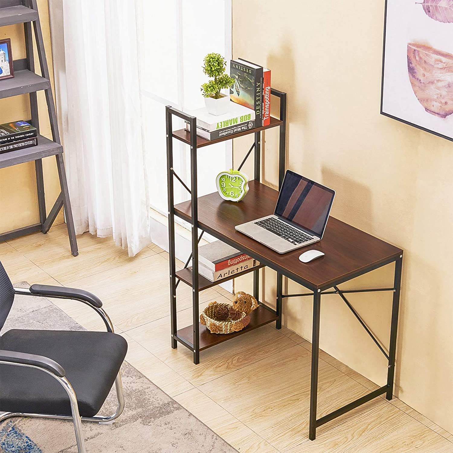 GreenForest Computer Desk with Shelves 43 Tier Industrial Style
