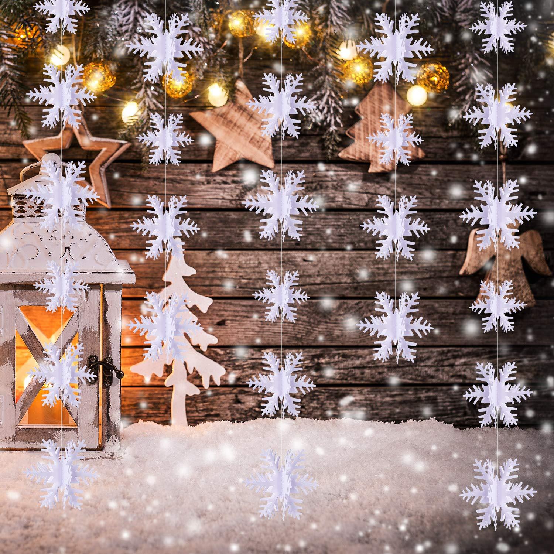 Blulu 5 Stringhe 3D Ornamenti Appesi a Fiocco di Neve Decorazioni con Fiocchi di Neve Ghirlanda per Casa Ufficio Vacanze Invernali 49.2 Piedi