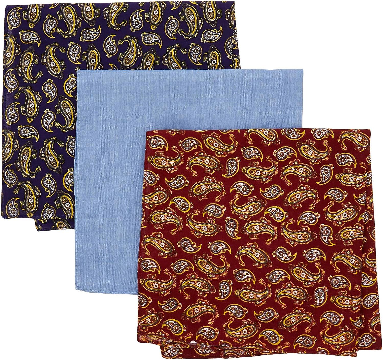 Hackett Hombres algodón paisley bolsillo cuadrado tres paquete Multi Coloreada