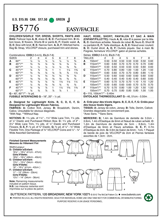 Amazon.com: Butterick Patterns B5776CDD Childrens/Girls Top Sewing Pattern, Dress, Shorts, Pants and Bag, Size CDD (2-3-4-5): Arts, Crafts & Sewing