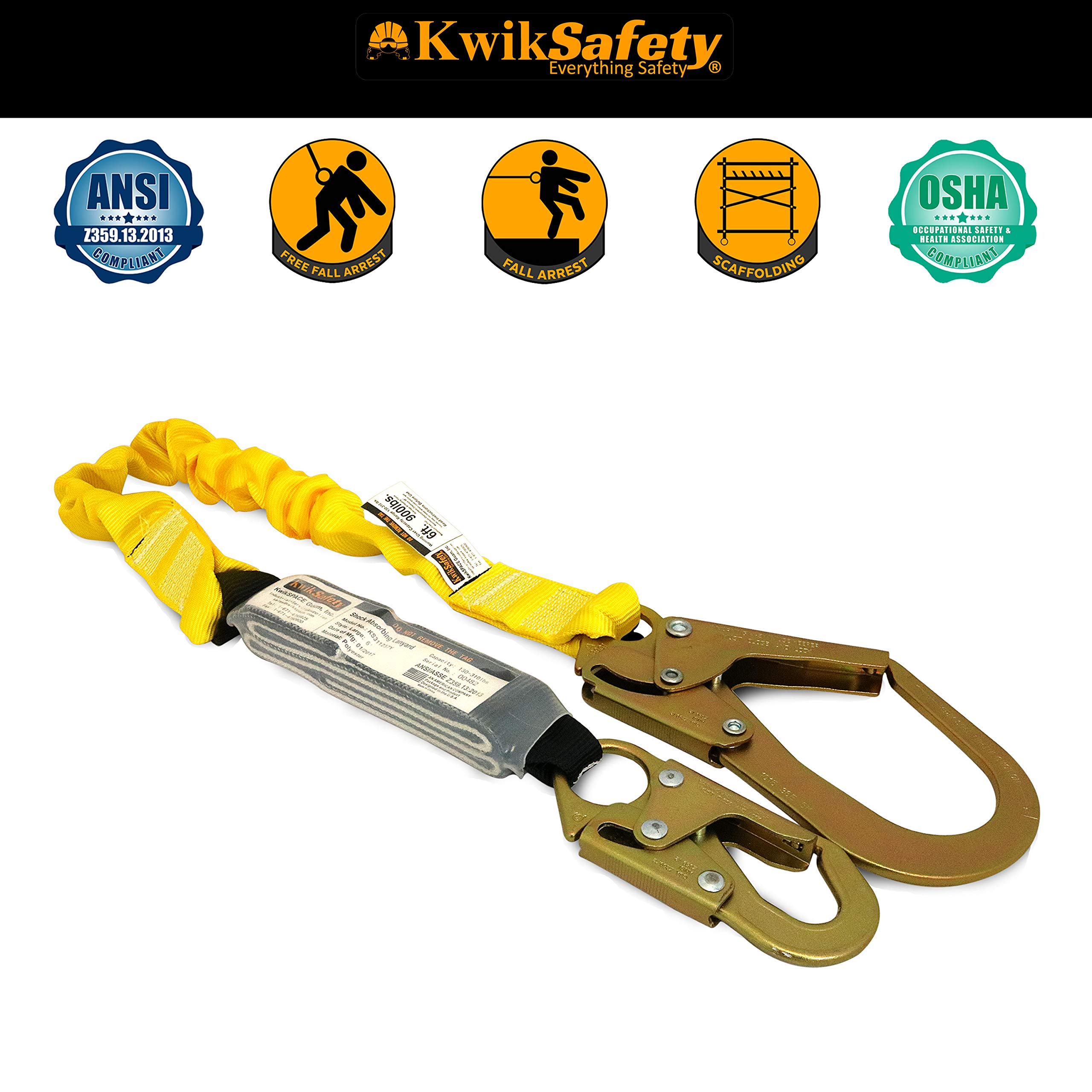 KwikSafety (Charlotte, NC) BOA 4 PACK (External Shock Absorber) Single Leg 6ft Safety Lanyard OSHA ANSI Fall Protection Restraint Equipment Snap Rebar Hook Connectors Construction Arborist Roofing by KwikSafety (Image #2)