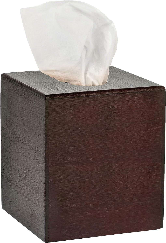 Alpine Industries Wooden Bamboo Square Tissue Box Cover - Eco Friendly Pull Cube Dispenser - Decorative Holder/Organizer for Bathroom, Office Desk & Car (Espresso)