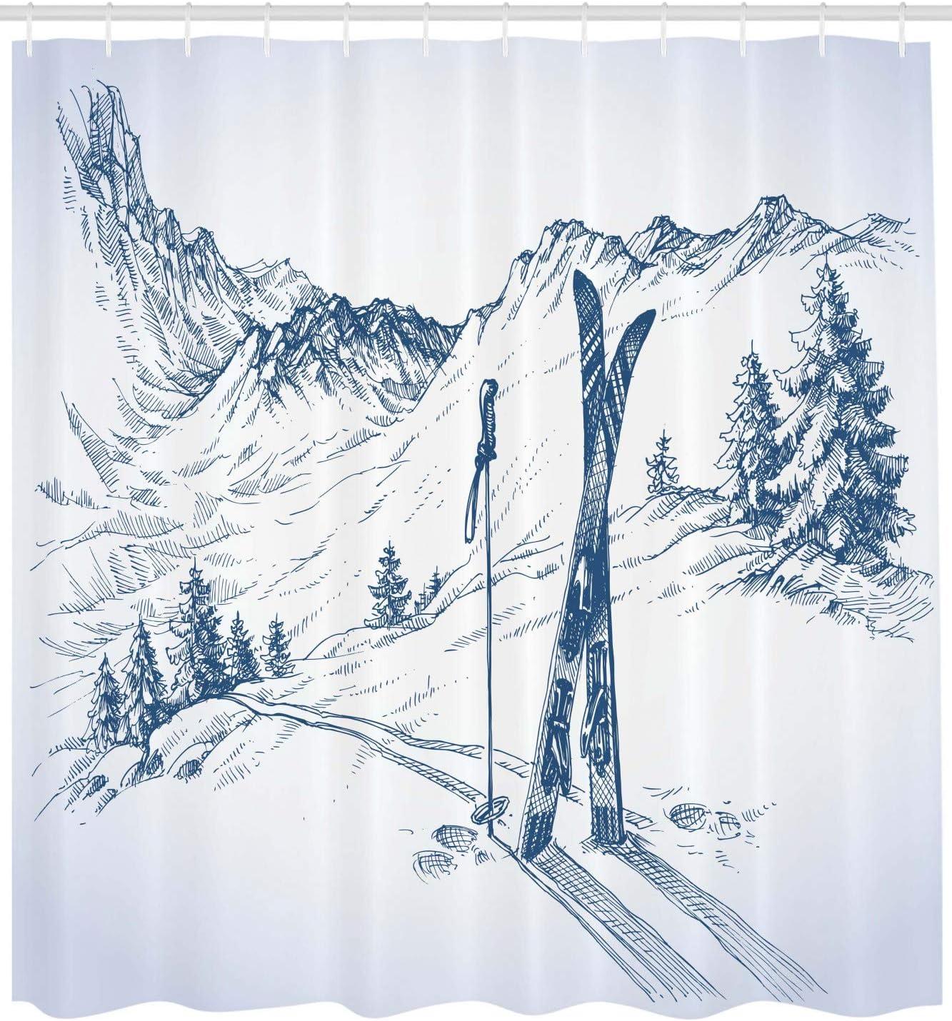 Material Resistente al Agua Durable Estampa Digital Deporte del esqu/í de monta/ña 175 x 200 cm ABAKUHAUS Invierno Cortina de Ba/ño Azul Blanco